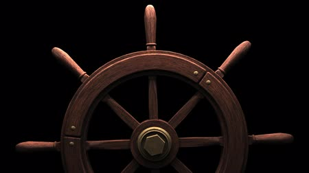 pirat : Rudder on black Rudder on black background.3DCG rendering animation that can loop.