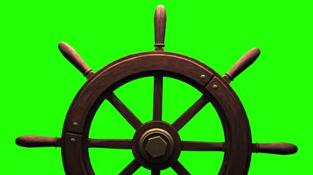 лодки : Rudder on green chroma key.Zoom camera view.