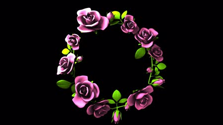 folyamatos : Pink Roses Frame On Black Text Space.3DCG rendering animation that can loop. Stock mozgókép
