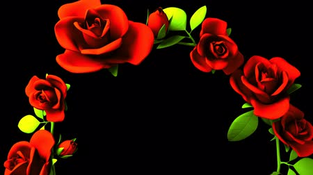 folyamatos : Red Roses Frame On Black Text Space.3DCG rendering animation that can loop.