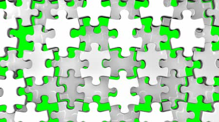 головоломки : White Jigsaw Puzzle On Green Chroma Key