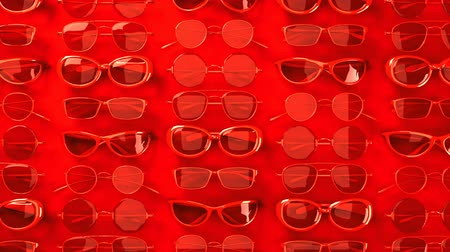 слепой : Many red glasses.Loopable 3DCG render animation. Стоковые видеозаписи