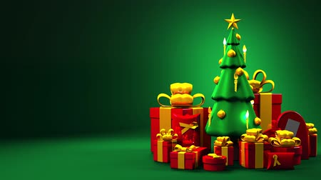 folyamatos : Christmas tree and gift boxes. Loop able 3DCG render animation. Space for text. Stock mozgókép
