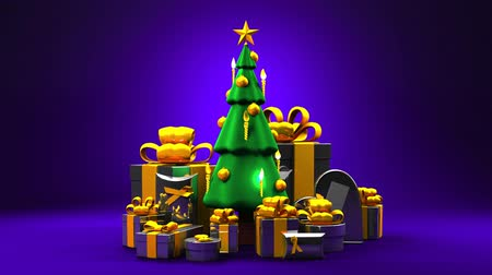 sürekli : Christmas tree and gift boxes. Loop able 3DCG render animation.