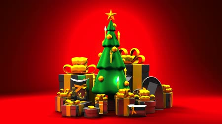 karácsonyi ajándék : Christmas tree and gift boxes. Loop able 3DCG render animation.