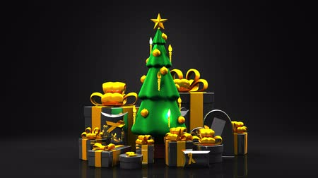 hábil : Christmas tree and gift boxes. Loop able 3DCG render animation.