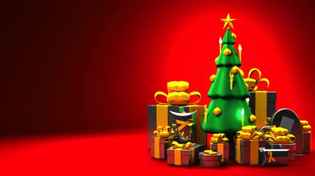 непрерывный : Christmas tree and gift boxes. Space for text.