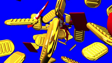 brilho intenso : Oval gold coins and bags on blue chroma key. Loop able 3D render Animation. Vídeos