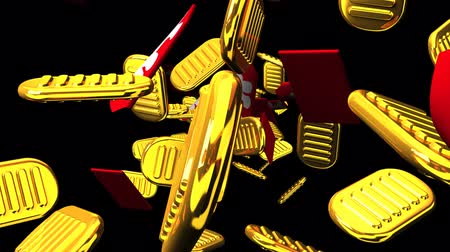 монета : Oval gold coins and bags on black background. Loop able 3D render Animation.