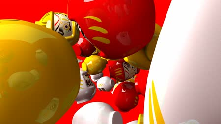 provérbio : Daruma dolls on red background. Loop able 3DCG render animation.
