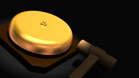 gong : Spotlighted repeating boxing bell on black text space