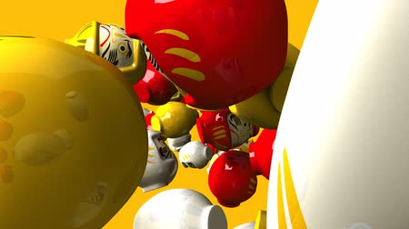 provérbio : Daruma dolls on yellow background. Loop able 3DCG render animation.