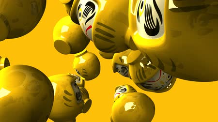 zvyk : Yellow daruma dolls on yellow background Dostupné videozáznamy