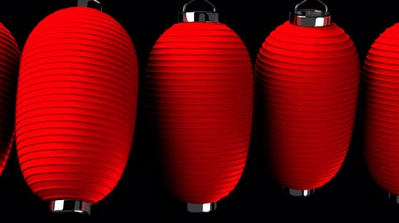 居酒屋 : Red paper lantern on black background. Loop able 3DCG render animation.