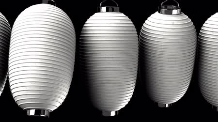 sürekli : White paper lanterns on the black background. Loop able 3DCG render animation. Stok Video