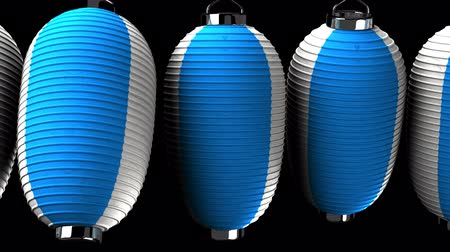 hábil : Blue and white paper lanterns on black background. Loop able 3D render Animation. Vídeos