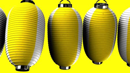 lanterns : Yellow and white paper lanterns on yellow background. Loop able 3D render Animation.