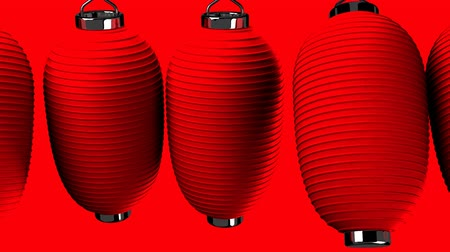 sürekli : Red paper lantern on red background. Loop able 3D render Animation.Zoom camera view.