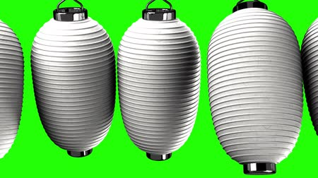sürekli : White paper lanterns on green chroma key. Loop able 3D render Animation.Zoom camera view.