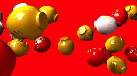 provérbio : Daruma dolls on red background. Loop able 3D render Animation. Stock Footage