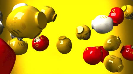 provérbio : Daruma dolls on yellow background. Loop able 3D render Animation.