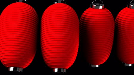 festivaller : Red paper lantern on black background. Loop able 3D render Animation.Horizontal scrolling camera view. Stok Video
