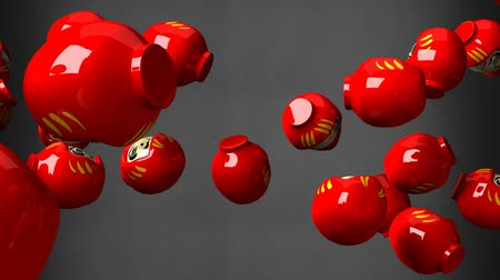 provérbio : Red daruma dolls on black background. Loop able 3D render Animation. Stock Footage