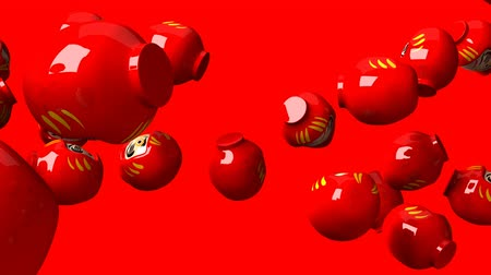 provérbio : Red daruma dolls on red background. Loop able 3D render Animation. Stock Footage