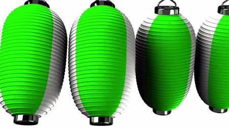 sürekli : Green and white paper lanterns on white background. Loop able 3D render Animation.Horizontal scrolling camera view. Stok Video