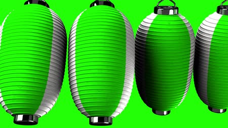 hábil : Green and white paper lanterns on green background. Loop able 3D render Animation.Horizontal scrolling camera view. Vídeos