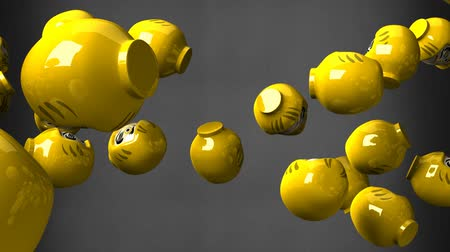 provérbio : Yellow daruma dolls on black background. Loop able 3D render animation. Stock Footage