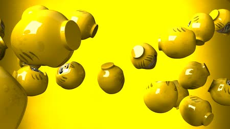 provérbio : Yellow daruma dolls on yellow background. Loop able 3D render animation.