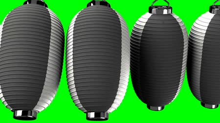 hábil : Black and white paper lantern on green chroma key. Loop able 3D render animation. Horizontal scrolling camera view.