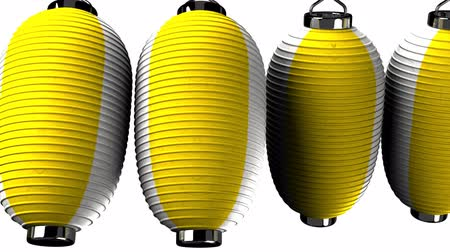 sürekli : Yellow and white paper lanterns on white background. Loop able 3D render animation. Horizontal scrolling camera view.