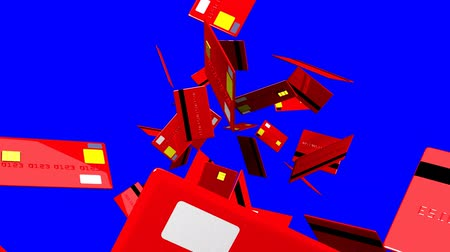 expenditure : Red Credit cards on blue chroma key.3D render animation. Stock Footage