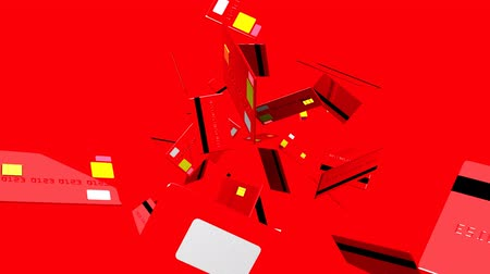 expenditure : Red Credit cards on red background.3D render animation. Stock Footage