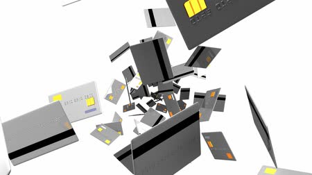 expenditure : Gray Credit cards on white background. Loop able 3D render animation. Stock Footage