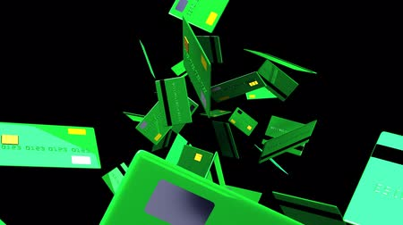 fintech : Green Credit cards on black background.3D render animation. Stock Footage
