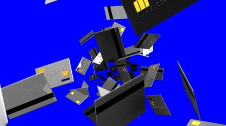 expenditure : Gray Credit cards on blue chroma key. Loop able 3D render animation. Stock Footage