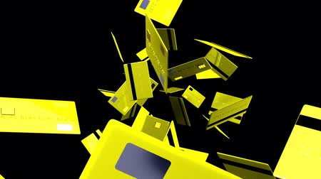 expenditure : Yellow Credit cards on black background.3D render animation. Stock Footage