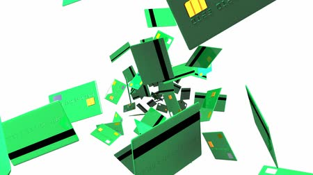 expenditure : Green + Credit + cards + on + white + background. Loop + able + 3D + render + animation.