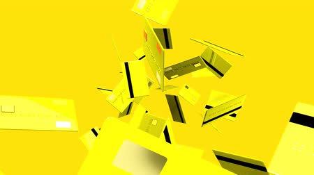 megelőzés : Yellow Credit cards on yellow background.3D render animation. Stock mozgókép