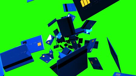 sürekli : Blue Credit cards on green chroma key. Loop able 3D render animation. Stok Video