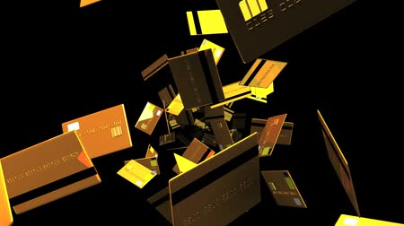 expenditure : Gold + Credit + cards + on + black + background. Loop + able + 3D + render + animation.