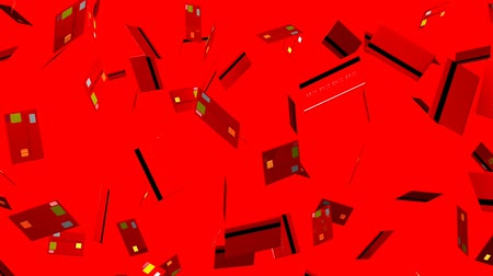 výdaj : Red Credit cards on red background.Loop able 3D render animation. Dostupné videozáznamy