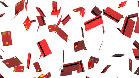 senha : Red Credit cards on white background.Loop able 3D render animation. Vídeos