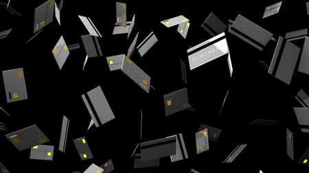fintech : Gray Credit cards on black background.Loop able 3D render animation. Stock Footage
