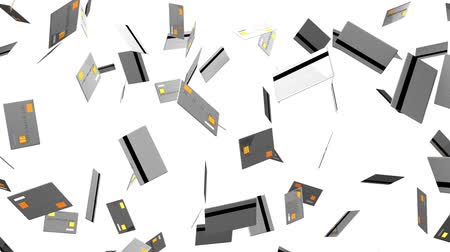 výdaj : Gray Credit cards on white background.Loop able 3D render animation.
