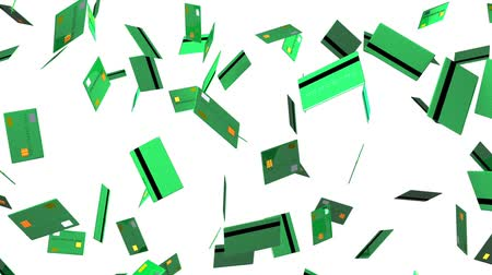 expenditure : Green Credit cards on white background.Loop able 3D render animation.