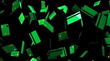 expenditure : Green Credit cards on black background.Loop able 3D render animation. Stock Footage